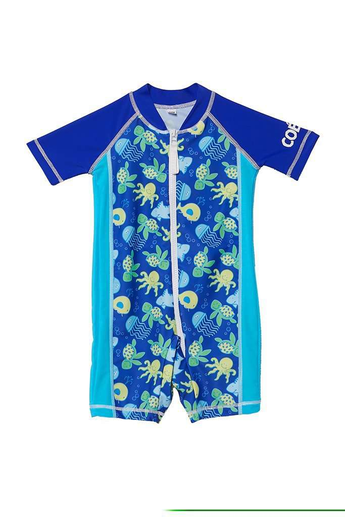 Coega Boys Baby Swim Suit - One Piece Blue Sea Life / 6M Sun Protective Swimwear