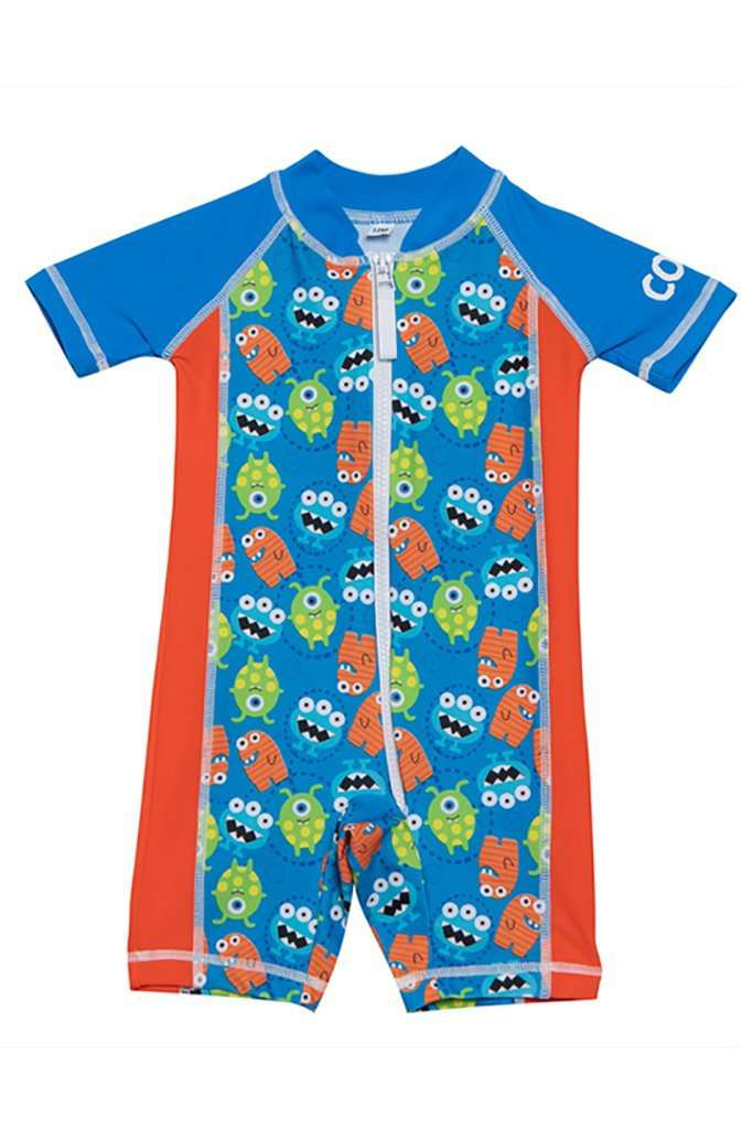 Coega Boys Baby Swim Suit - One Piece Blue Monsters / 6M Sun Protective Swimwear