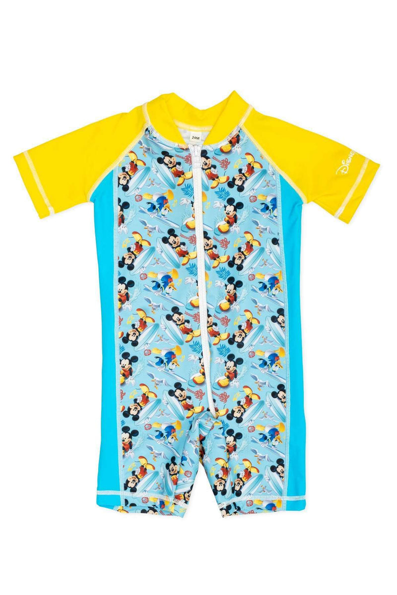 Coega Disney Boys Baby Swim Suit - One Piece Teal Mickey Surf / 12M Sun Protective Swimwear