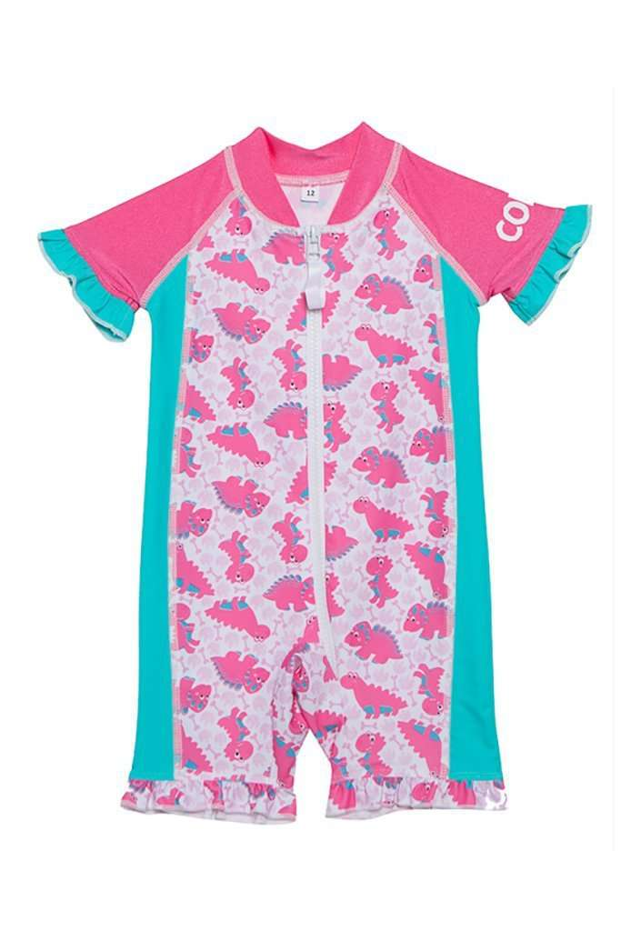 Coega Girls Baby Swim Suit - One Piece Pink Dinos / 6M Sun Protective Swimwear