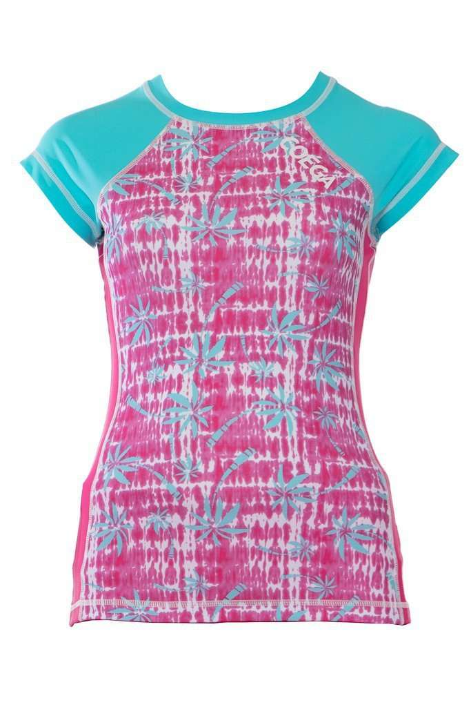 Coega Girls Youth Rashguard - Capped Sleeve Aqua Coconut Trees / 10 Sun Protective Swimwear