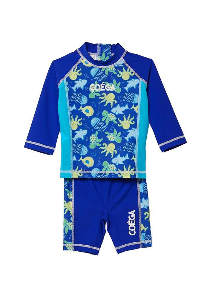 Coega Boys Baby Swim Suit - Two Piece Blue Sea Life / 6M Sun Protective Swimwear