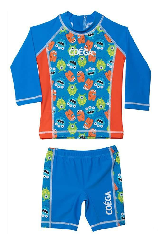 Coega Boys Baby Swim Suit - Two Piece Blue Monsters / 6M Sun Protective Swimwear