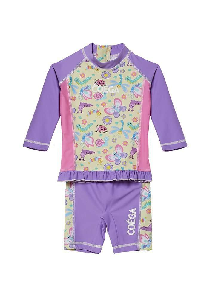 Coega Girls Baby Swim Suit - Two Piece Purple Butterfly / 6M Sun Protective Swimwear