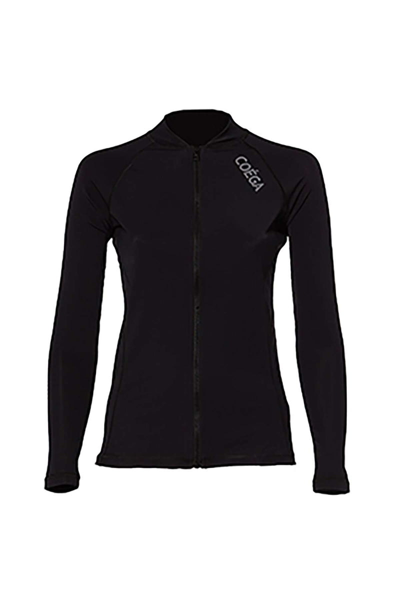COEGA Ladies Rashguard - Long Sleeve with Full Zip (Size 6; Black Color)