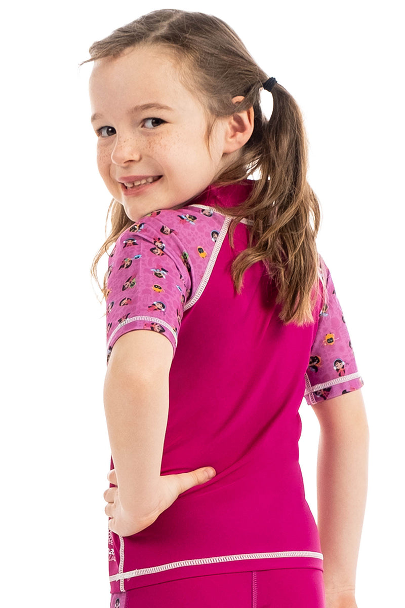 Expo 2020 Dubai Iconic Girls Kids Rashguard - Short Sleeve