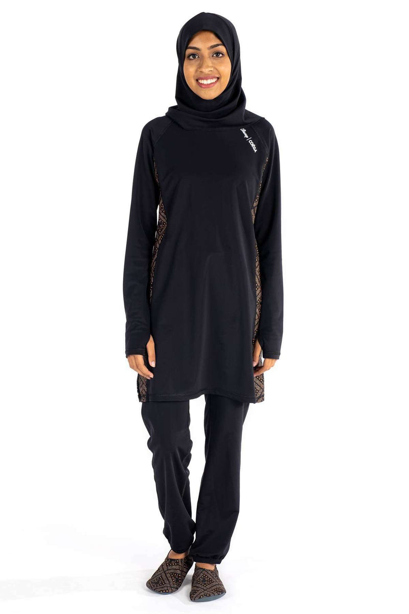 Coega Disney Ladies Islamic Suit - Three Piece Set Black & Gold Mickey / Uk 8 Sun Protective