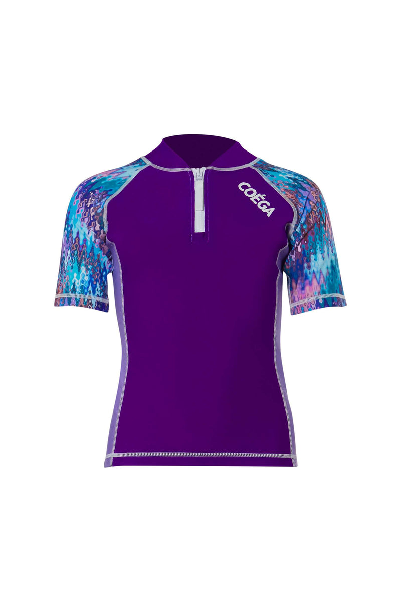 COEGA Girls Youth Rashguard - Short Sleeve with Zip