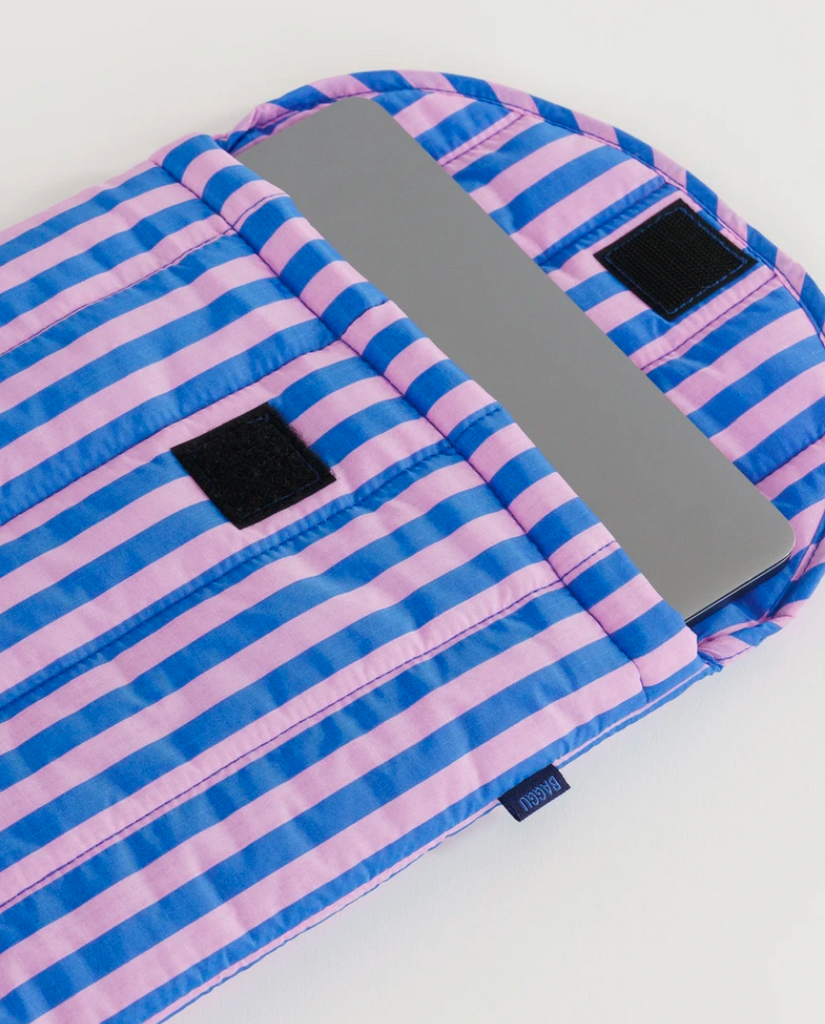 "Baggu puffy laptop sleeve 13"" - pink blue stripes"
