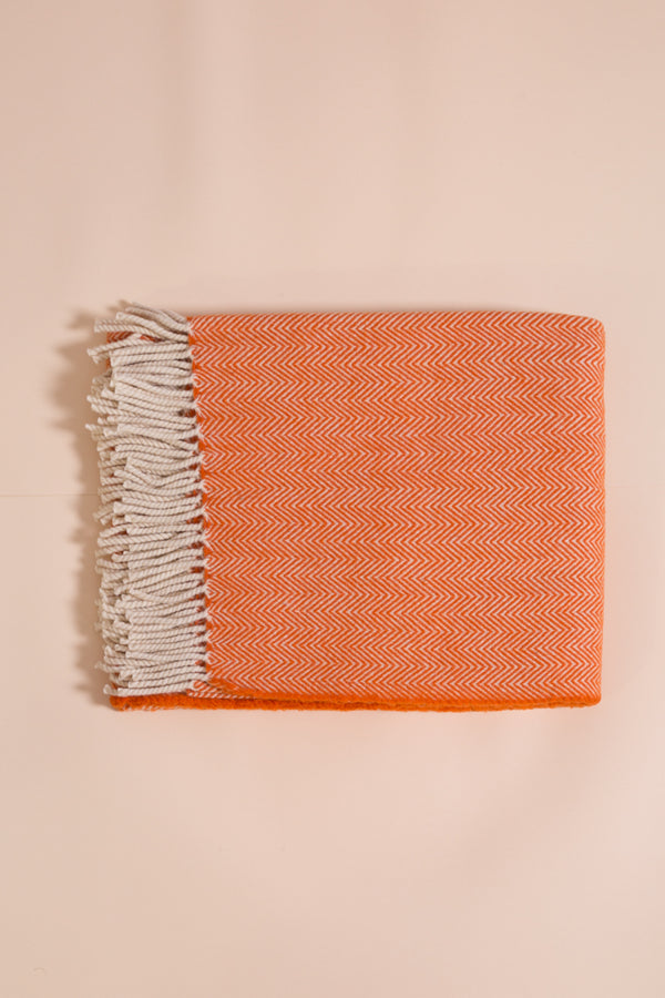 Wolldecke orange , Wool blanket , Tagesdecke, Sofadecke