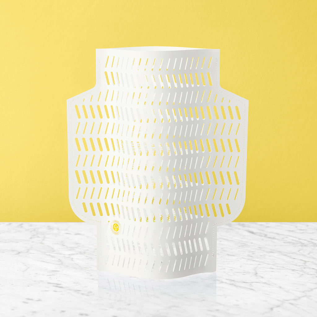 PAPER VASE CORAL PERFORATED WHITE