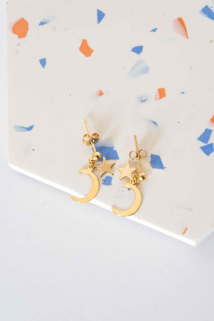 Earpin Star Moon Charm Set of two