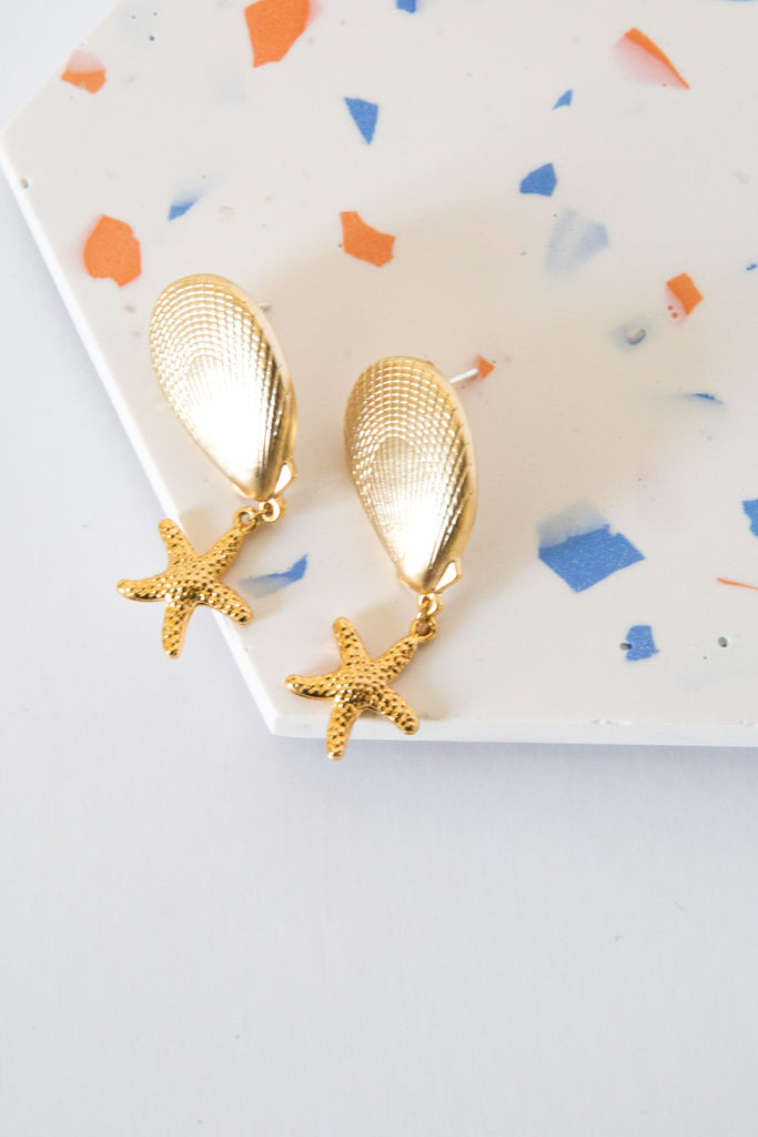 Earring Shell Starfish-Set of two