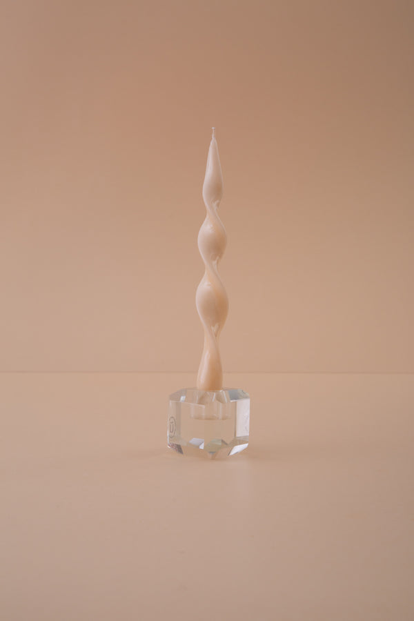 Twist Candle N°2 pearl white varnished - 22cm - Spiralkerze
