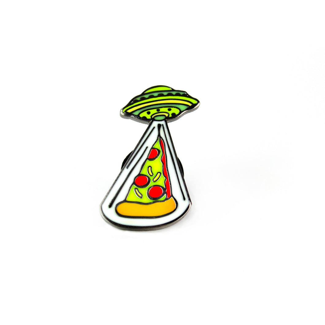 Pizza Abduction Enamel Pin