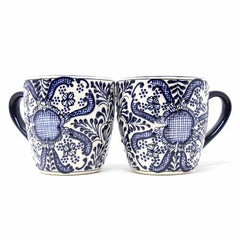 Rounded Mugs - Blue Flowers Pattern, Set of Two - Encantada