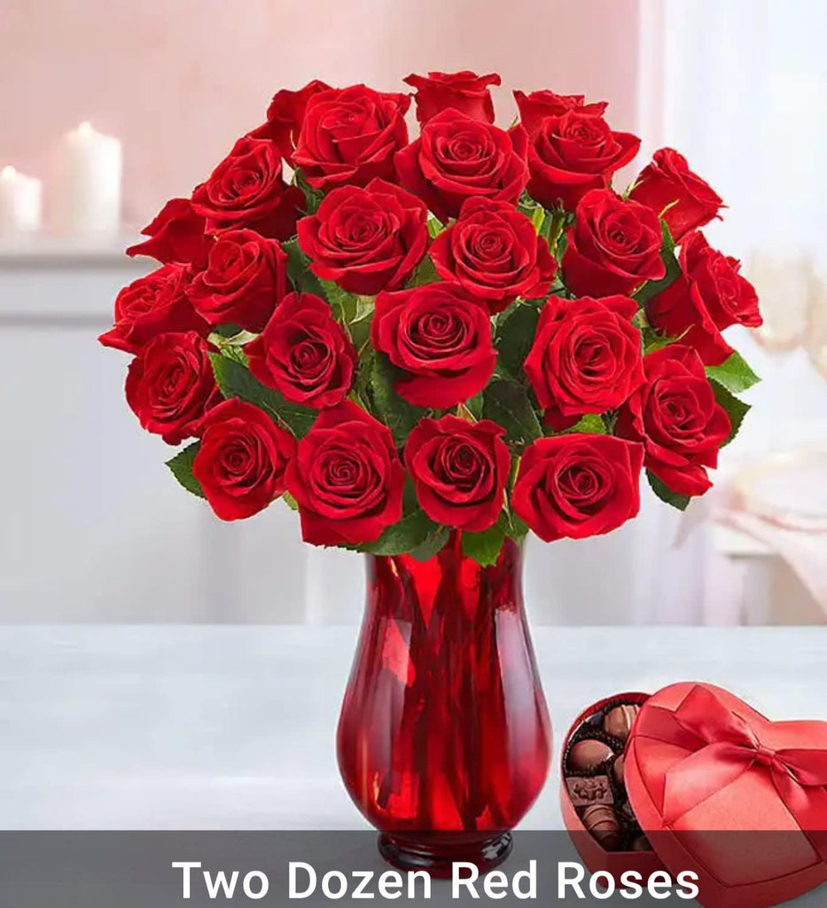 handmade-global-crafts - 1-800-Flowers Two Dozen Red Roses with Red Vase