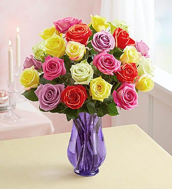 handmade-global-crafts - 1-800-Flowers Two Dozen Assorted  Roses with Purple Vase