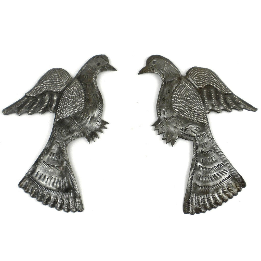 handmade-global-crafts - Pair of Birds Metal Wall Art - Croix des Bouquets
