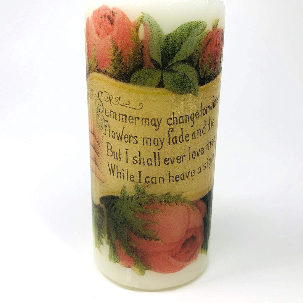 valentine's day antique roses, handmade 2 pieces set Decoupage up cycle pillar candle 2 x 4 inches tall white unscented centerpiece, hand decorated