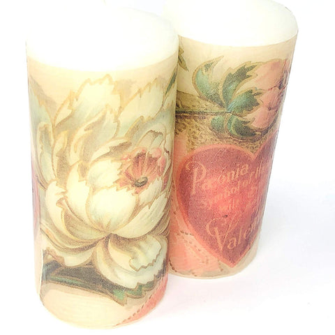 valentine's day antique hart and flowers, handmade 2 pieces set Decoupage up cycle pillar candle 2 x 4 inches tall white unscented centerpiece, hand decorated
