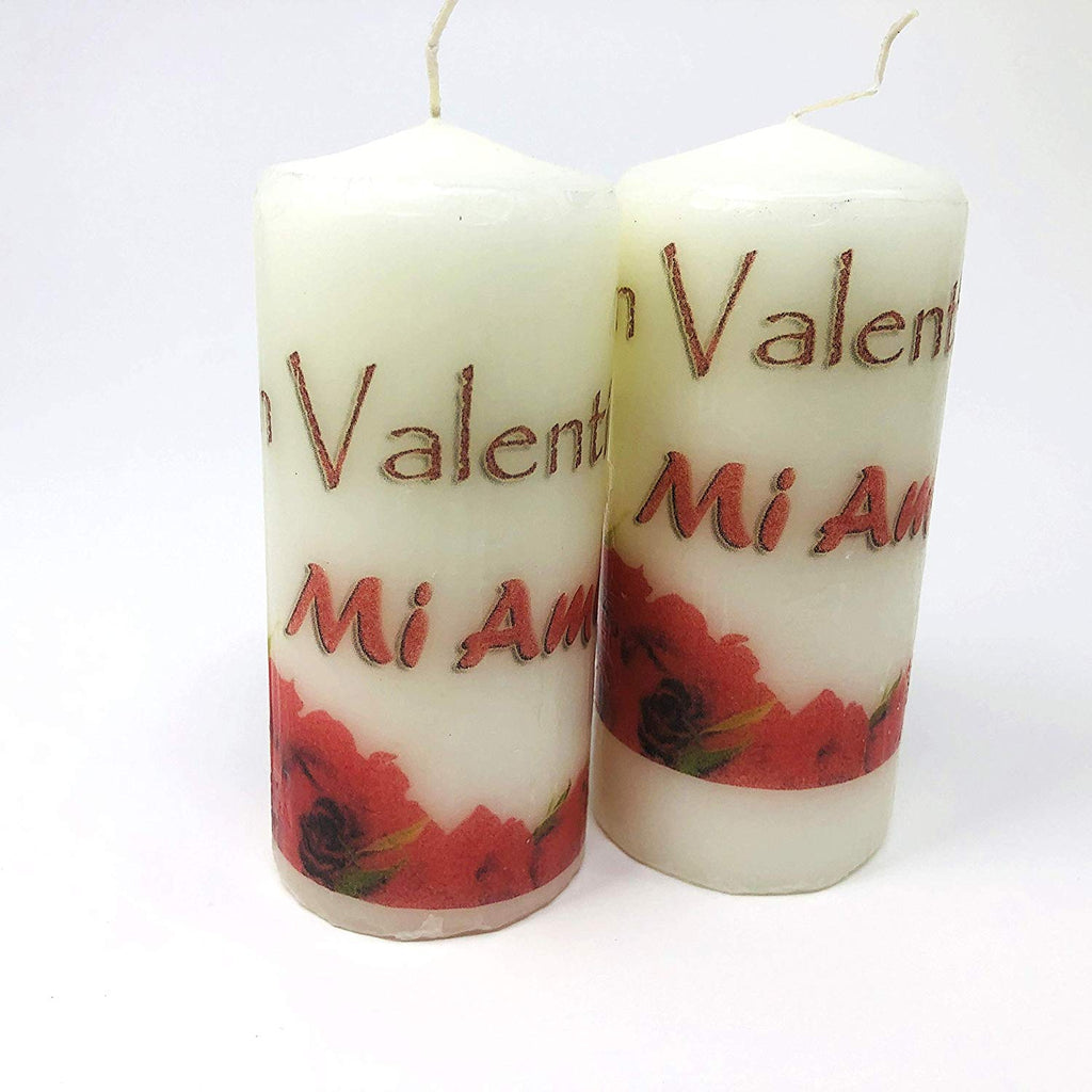 Feliz San Valentin mi Amor, handmade 2 pieces set Decoupage up cycle pillar candle 2 x 4 inches tall white unscented centerpiece, hand decorated