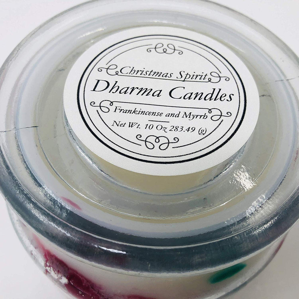 Christmas Spirit hand poured candle 10 oz glass container scented with Frankincense and Myrrh