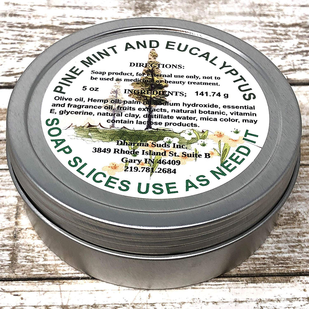 handmade-global-crafts - Single use soap slices 5.oz pine mint and eucalyptus scented, ew cap tin perfect for camping
