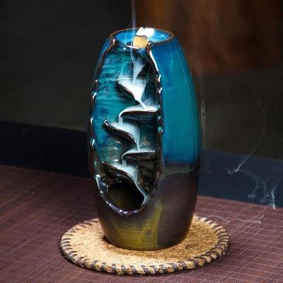 handmade-global-crafts - Downs flow incense Burner smoke cascade Beautiful scenery clay decorated