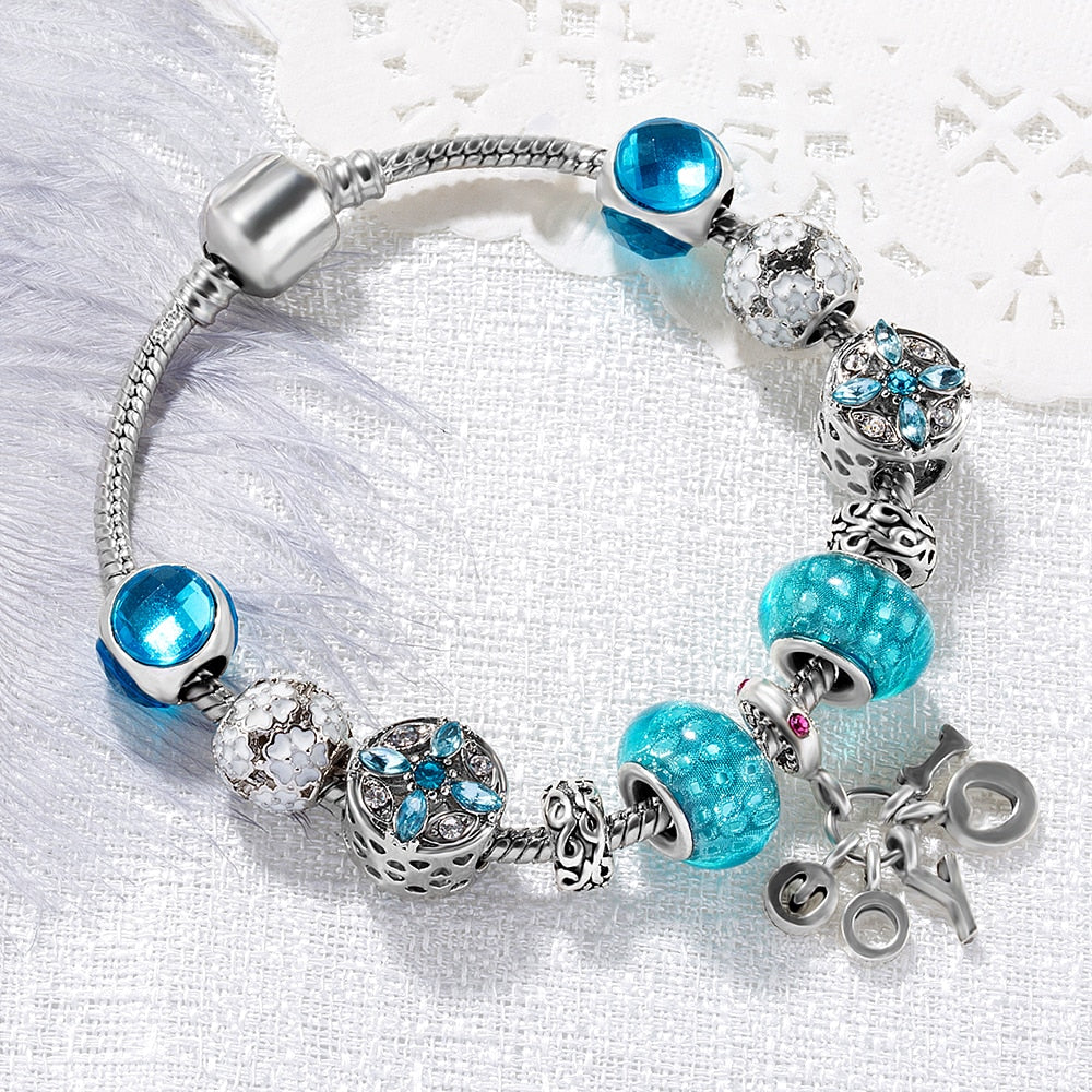 "handmade-global-crafts - ""TURQUOISE"" CHARM BRACELET"