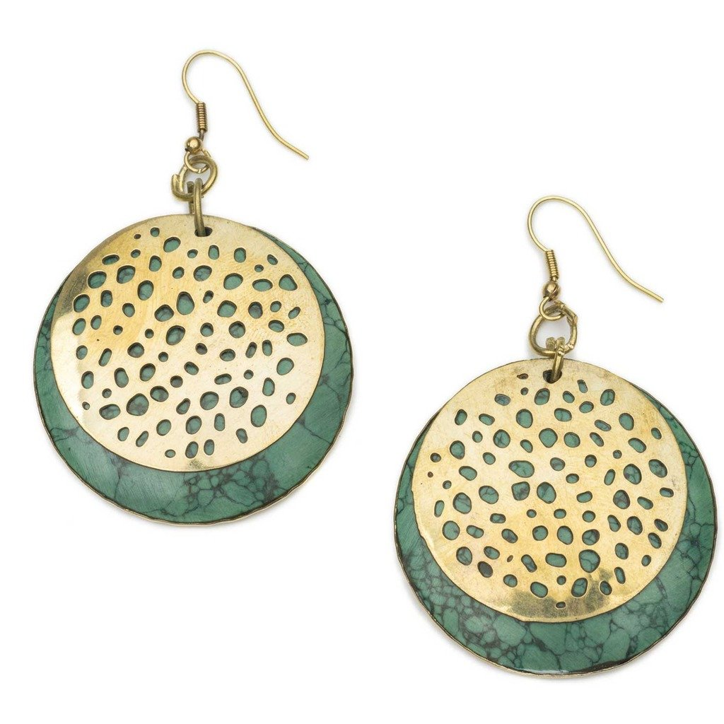 Tara Stone Medallion Earrings - Green - Matr Boomie (Jewelry)