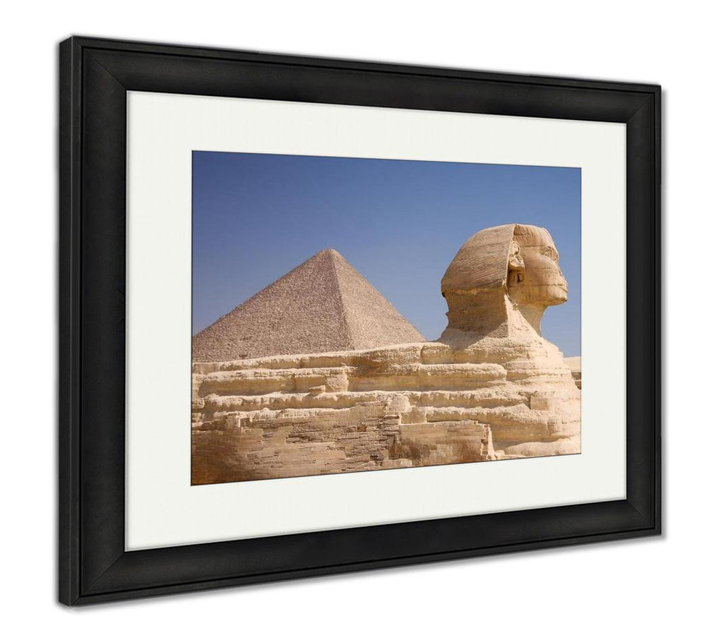 handmade-global-crafts - Framed Print, Great Pyramid And Sphinx Gizegypt