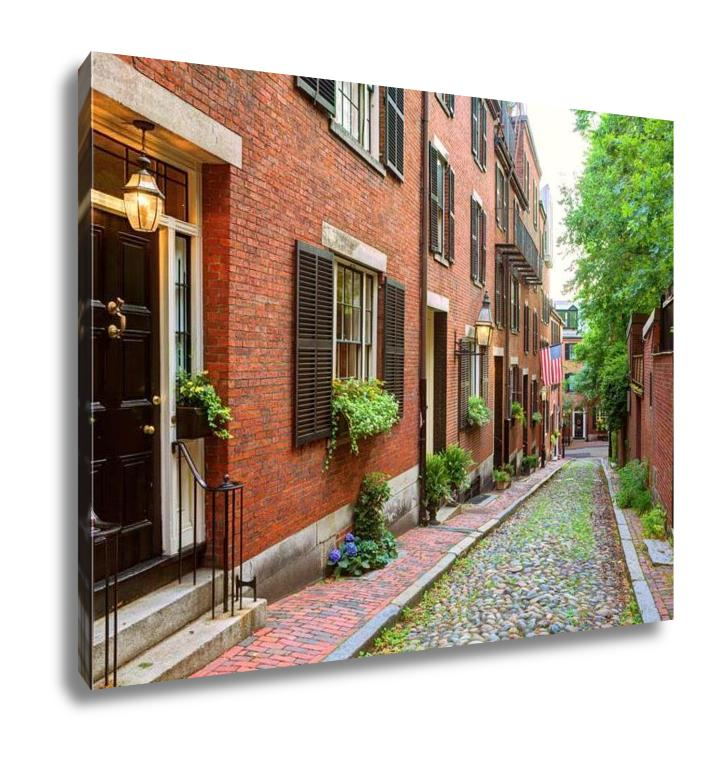 handmade-global-crafts - Gallery Wrapped Canvas, Acorn Street Beacon Hill Cobblestone Boston In Massachusetts USA