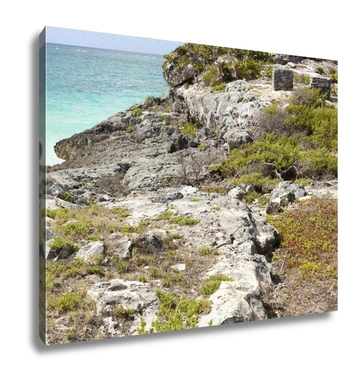 handmade-global-crafts - Gallery Wrapped Canvas, Ancient Ruins Of Tulum Fortress Yucatan Mexico