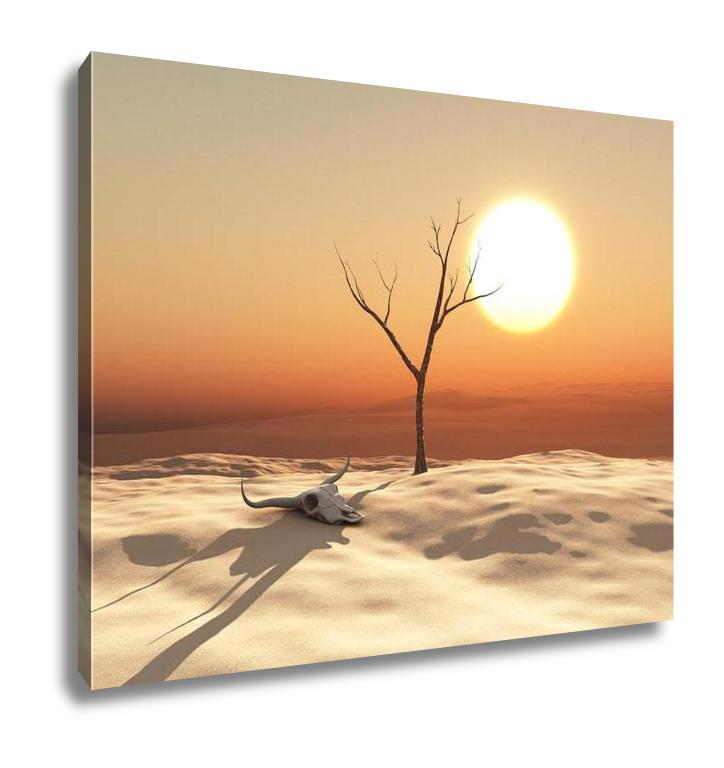 handmade-global-crafts - Gallery Wrapped Canvas, 3d Illustration Of A Desert Landscape With Cow Skull And Dead Tree