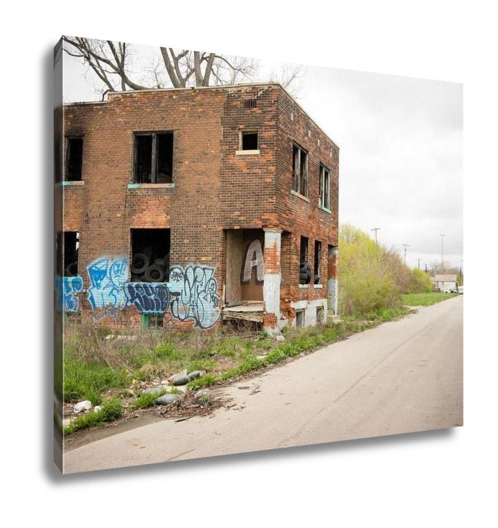 handmade-global-crafts - Gallery Wrapped Canvas, Abandoned Building Dilapidated Real Estate Detroit Michigan