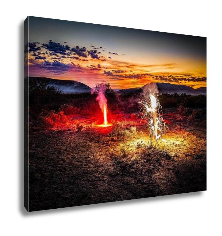 handmade-global-crafts - Gallery Wrapped Canvas, A Fireworks Display On The Fourth Of July In The Desert Near El Paso Tx