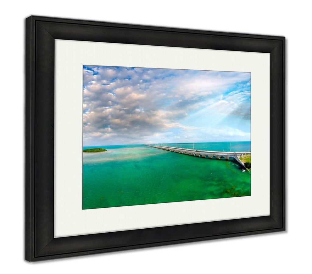 handmade-global-crafts - Framed Print, Florida Keys Bridge Beautiful Sunset Aerial View