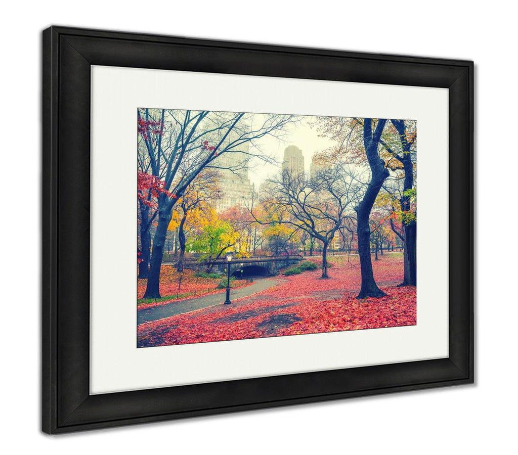 handmade-global-crafts - Framed Print, Central Park At Rainy Morning New York City USA