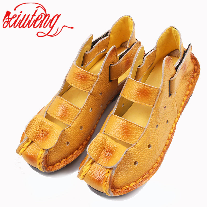 handmade-global-crafts - Xiuteng Summer New Soft Bottom Flat Leather Shoes Personality Casual Women Sandals Tunnel Vintage Handmade Sandals For spring