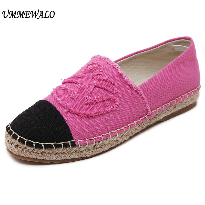 handmade-global-crafts - UMMEWALO Canvas Shoes Women Slip On Espadrilles Woman Comfortable Round Toe Loafers Flats Ladies Casual Flat Shoes