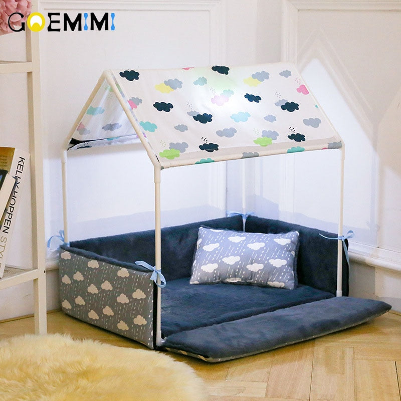 handmade-global-crafts - Washable Home Shape Dog Bed + Tent Dog Kennel Pet Removable Cozy House For Puppy Dogs Cat Small Animals Home Products