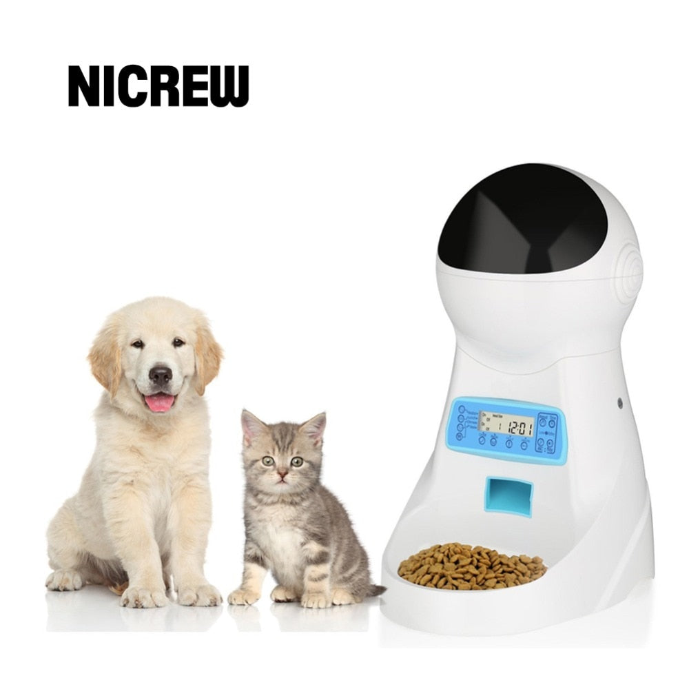 handmade-global-crafts - Nicrew Pet-U 3L Automatic Pet Food Feeder Voice Recording / LCD Screen Bowl For Medium Small Dog Cat Dispensers 4 times One Day