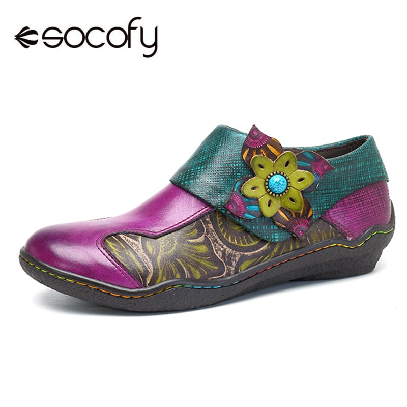 handmade-global-crafts - Socofy Bohemian Flat Shoes Women Summer Vintage Printed Genuine Leather Flats Zipper Casual Shoes Woman Sneakers Spring Fall New