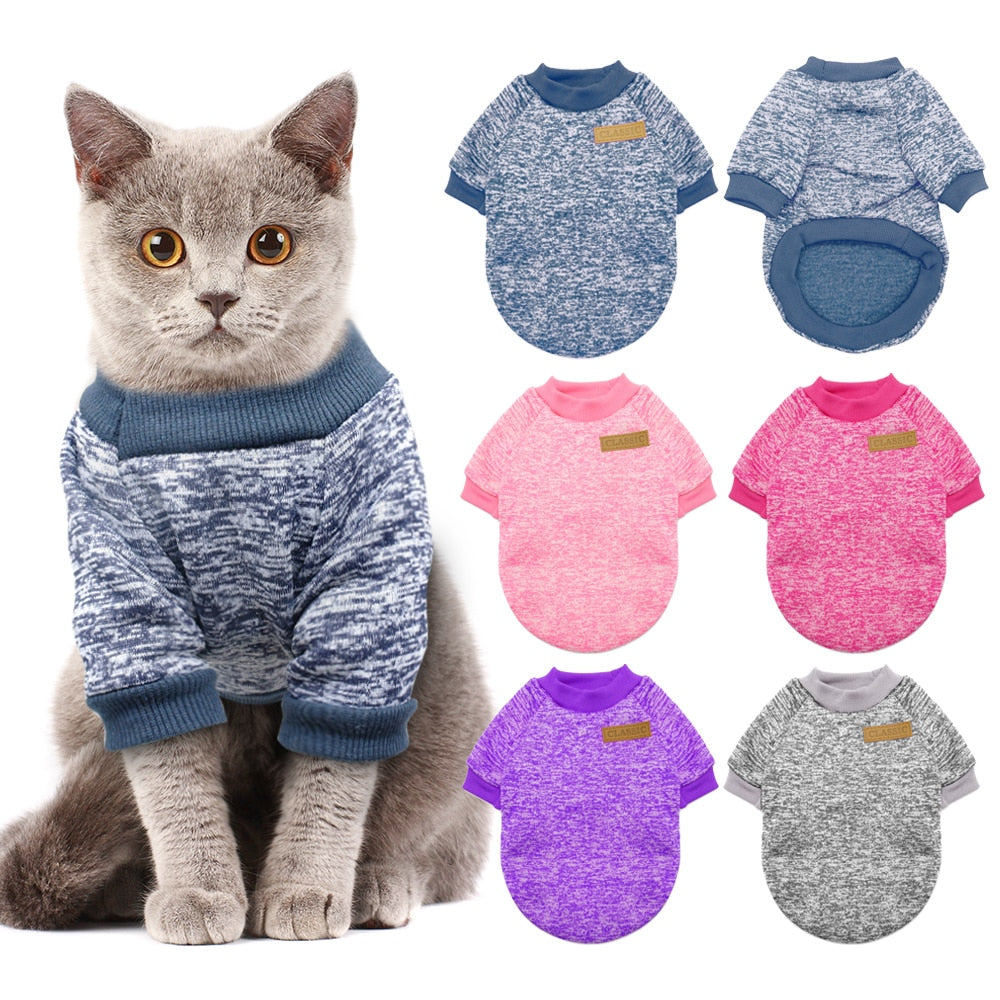 handmade-global-crafts - Warm Dog Cat Clothing Autumn Winter Pet Clothes Sweater For Small Dogs Cats Chihuahua Pug Yorkies Kitten Outfit Cat Coat Costume