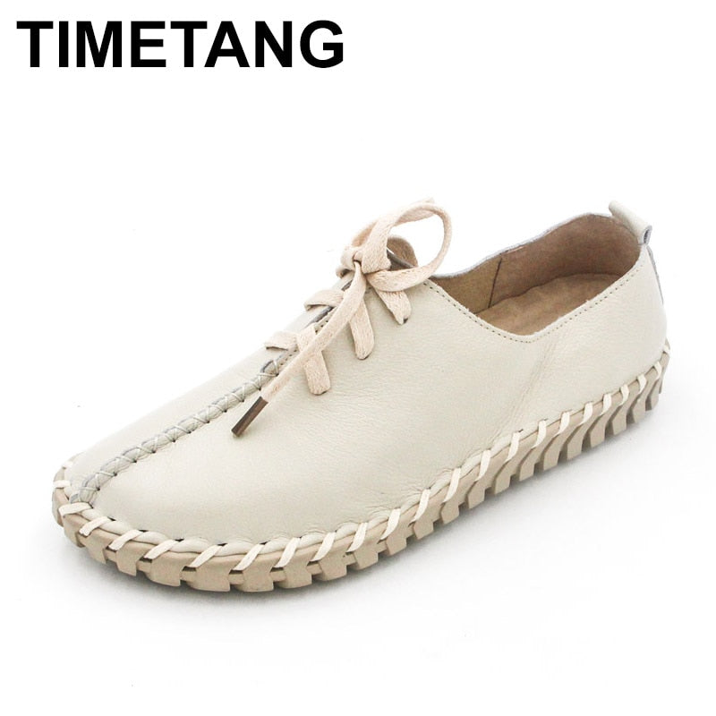 handmade-global-crafts - TIMETANG Genuine Leather Loafers Casual Platform Shoes Woman Slip On Flats Bowtie Moccasin Comfortanble Creepers Women Shoes