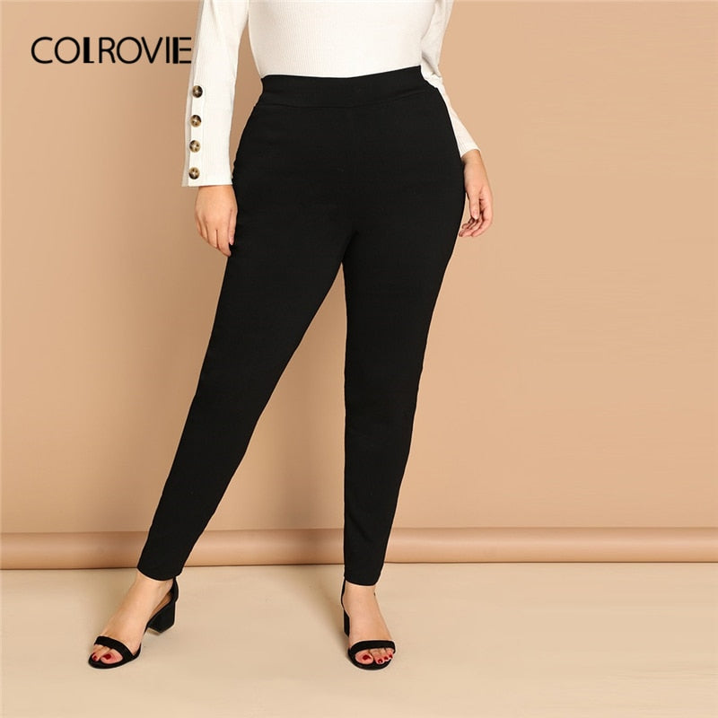 handmade-global-crafts - COLROVIE Plus Size Black High Waist Active Wear Skinny Leggings Female 2019 Spring Basic Leggings Fitness for Women Sexy Pants