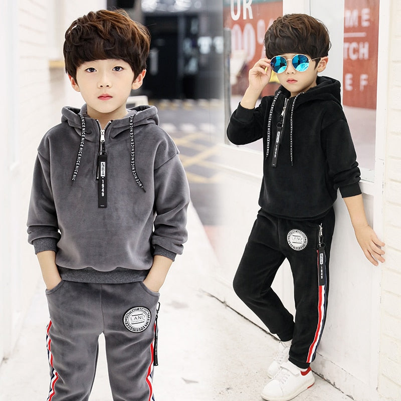 handmade-global-crafts - 2018 Spring Autumn  Tracksuit Girls Sports Suit Velvet Kids Fashion Sportwear Children Track Suit Clothes Set Casual Outfit