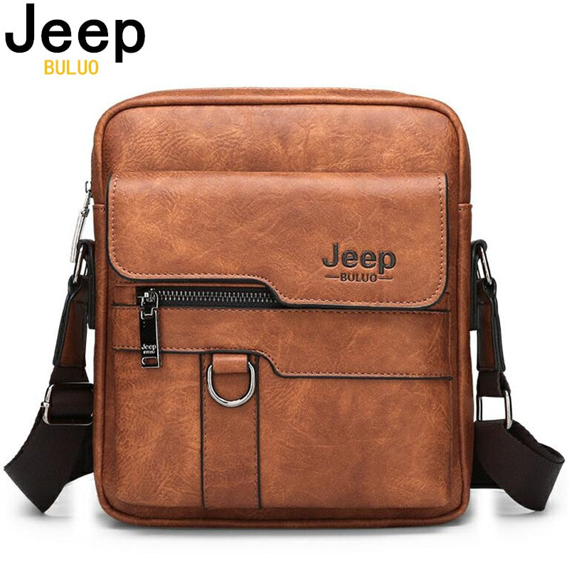 handmade-global-crafts - JEEP BULUO Luxury Brand Men Messenger Bags Crossbody Business Casual Handbag Male Spliter Leather Shoulder Bag Large Capacity