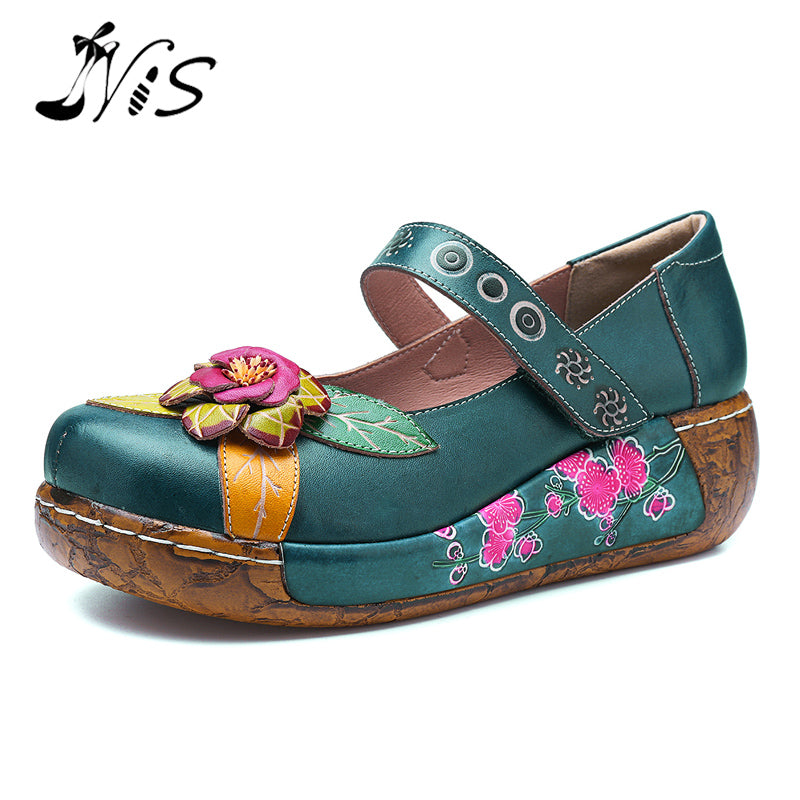 handmade-global-crafts - NIS Bohemian Vintage Style Women Flat Shoes Woman Spring Summer Socofy Genuine Leather Platform Casual Shoes Handmade Flower New
